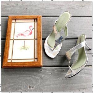 Prada Silver Leather Thong Sandal Heels